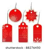 Red Christmas Tags