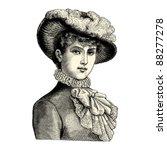 Elegant Lady   Vintage Engrave...