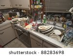 pile of dirty dishes in sink... | Shutterstock . vector #88283698