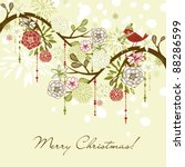floral winter background. | Shutterstock .eps vector #88286599