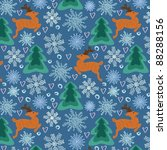 christmas pattern with dears.   Shutterstock .eps vector #88288156