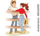 cowboy and cowgirl courtship | Shutterstock . vector #88316098