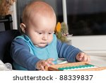 portrait of 6 months male child baby boy - stock photo