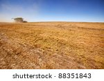 A combine on the horizon harvesting a field of lentils - stock photo