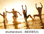 group of happy young people... | Shutterstock . vector #88358521