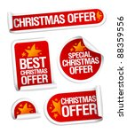 Best Christmas offers stickers set. - stock vector