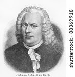 Small photo of Johann Sebastian Bach - Picture from Meyers Lexicon books written in German language. Collection of 21 volumes published between 1905 and 1909.