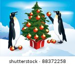 penguins decorate the christmas ... | Shutterstock .eps vector #88372258