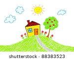 drawing of house | Shutterstock .eps vector #88383523