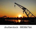 crane in port of sava river | Shutterstock . vector #88386766