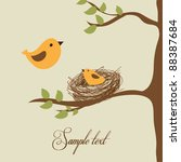 flying bird and little bird in... | Shutterstock .eps vector #88387684
