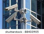 three cctv security cameras on... | Shutterstock . vector #88403905