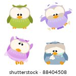 different cartoon owls being... | Shutterstock . vector #88404508