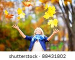 cute blonde with autumn leaves | Shutterstock . vector #88431802