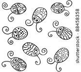 contour ladybirds vector | Shutterstock .eps vector #88458358