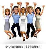 3d happy business group jumping ... | Shutterstock . vector #88465564