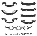 set of distressed grunge scroll ...   Shutterstock . vector #88470589
