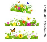 3 spring flower bouquet ... | Shutterstock .eps vector #88470694