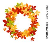 Autumn falling leaves in frame for seasonal or thanksgiving design. Vector version also available in gallery - stock photo