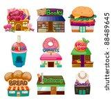 Cartoon Shop House Icons