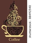 cup of coffee with floral... | Shutterstock . vector #88492540