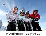 Group Of Teenagers Skiing