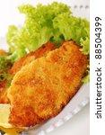 wiener schnitzel on white plate ... | Shutterstock . vector #88504399