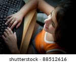 small latin  girl working with... | Shutterstock . vector #88512616