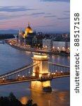hungary  chain bridge and...   Shutterstock . vector #88517158