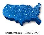 u.s.a 3d map technology... | Shutterstock . vector #88519297
