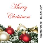 Christmas background with colorful ornaments isolated on white background - stock photo