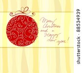 christmas doodle greeting card... | Shutterstock . vector #88534939