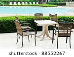 Wicker Chair Beside The Pool At ...