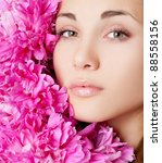 beautiful young girl with... | Shutterstock . vector #88558156