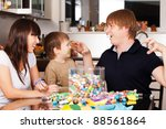 father is showing funny rabbit... | Shutterstock . vector #88561864