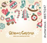 retro christmas card with cute... | Shutterstock .eps vector #88575247