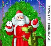 santa claus  dragon and the... | Shutterstock . vector #88575283