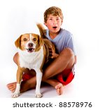 a boy and his dog with similar...   Shutterstock . vector #88578976