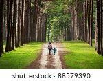 mother and child walking to... | Shutterstock . vector #88579390
