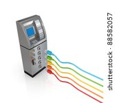 atm and colorful patch cords... | Shutterstock . vector #88582057