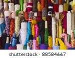 colorful fabric rolls in the...