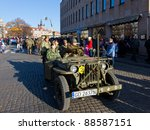 GDANSK, POLAND - NOVEMBER 11: The annual parade on the occasion of the Independence Day. March through the streets, and a demonstration of old vehicles, November 11, 2011 in Gdansk. - stock photo