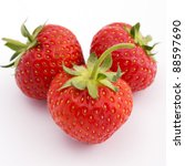 Strawberries on a white background with shadows - stock photo