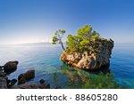 typical rock in brela  croatia   Shutterstock . vector #88605280
