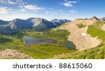 Beautiful scenery in the San Juan Mountains in Colorado. View of Taylor Lake from Indian Trail Ridge. - stock photo