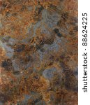 picture painted by me, named Corrosion 2. It shows a abstract modified corroded and tarnished metallic surface - stock photo