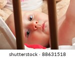 portrait of 6 months male child baby boy in blue eye - stock photo