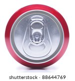 Close Up of a Red Soda Can Top On it side white background with shadow - stock photo