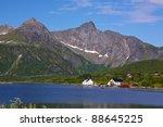 Scenery on Lofoten Islands near Kalle, favorite spot for climbers - stock photo