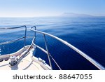 Boat Bow Sailing In Blue...